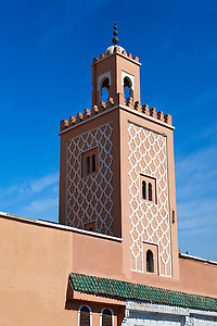 Traditional square mainater of a Mosque on Jemaa el-Fnaa square. Marrakesh, Morocco (Paul E Williams)