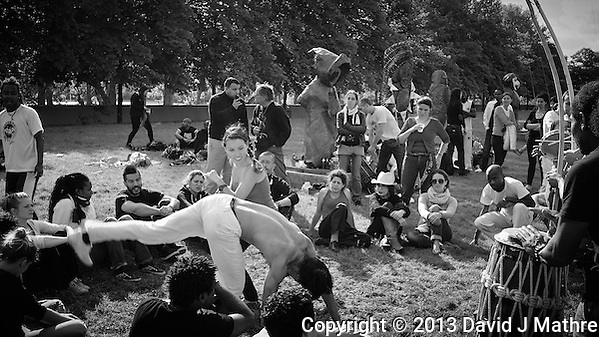 Capoeria Performance in Parc de Bercy. Late Spring Photowalk in Paris. Image taken with a Leica X2 camera (ISO 100, 24 mm, f/5, 1/200 sec). Semester at Sea Spring 2013 Enrichment Voyage. (David J Mathre)