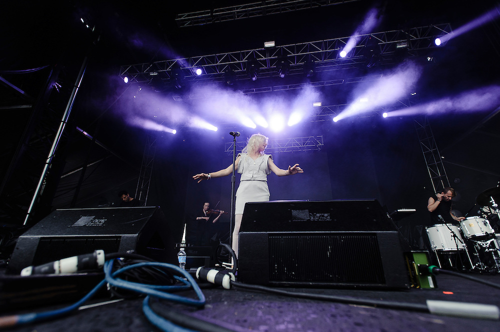 Photos of the musician Zola Jesus performing at Catalpa Music Festival on Randall's Island, NYC. July 28, 2012. Copyright © 2012 Matthew Eisman. All Rights Reserved. (Photo by Matthew Eisman/ Getty Images)