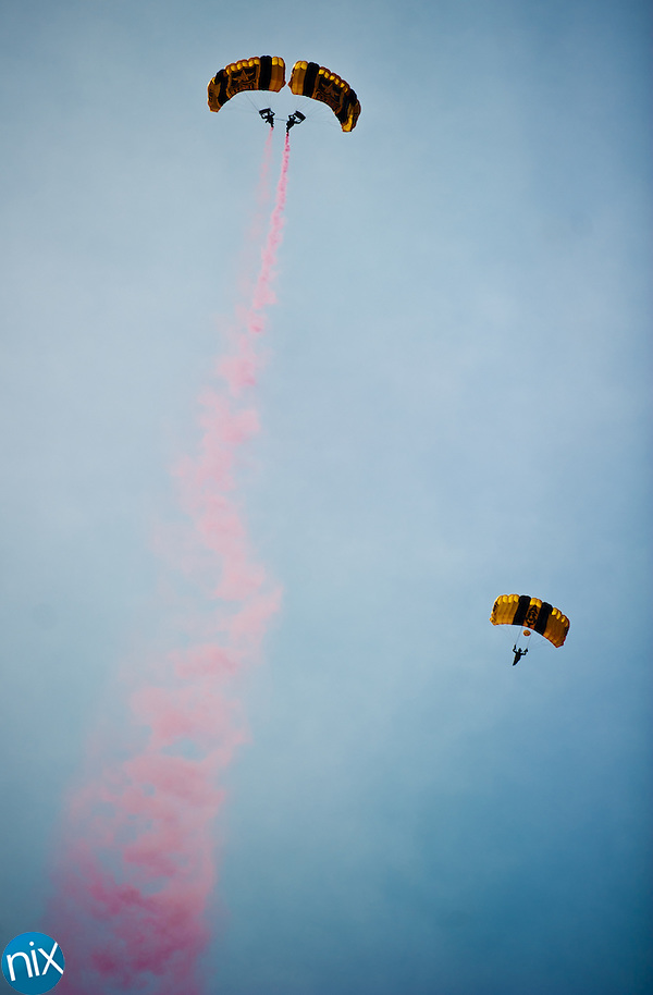 The U.S. Army Golden Knights Parachute Team perform a jump during the Vietnam Veterans Homecoming Celebration at Charlotte Motor Speedway in Concord on March 31, 2012. (James Nix)