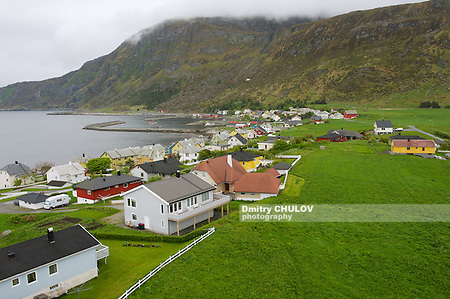 ALNES, NORWAY - JUNE 03, 2010: View to the town of Alnes from the lighthouse in Alnes, Norway. (Dmitry Chulov)