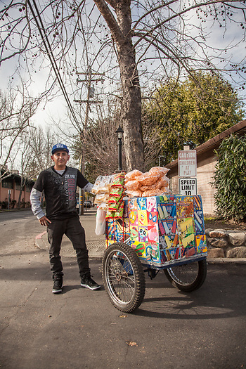 "Alberto Reyes Ambrocio, Mobile Food Seller, Calistoga. ""I started this business four years ago...my biggest seller is the icecream sandwich."" (Clark James Mishler)"