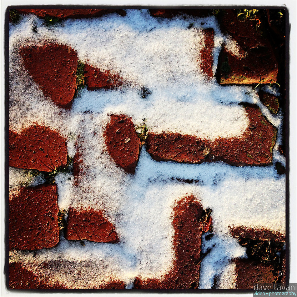 The afternoon sun lights the dusting of snow on bricks in the 100 block of Duval Street in the Germantown section of Philadelphia on January 6, 2013. (Dave Tavani)