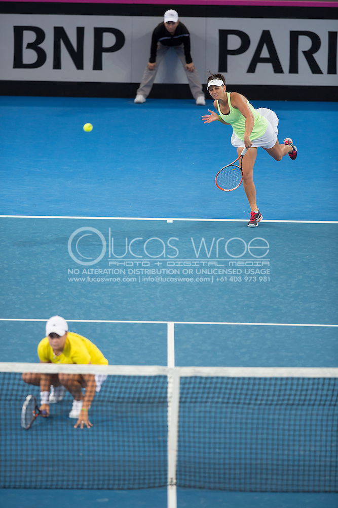 Casey Dellacqua (AUS) and Ashleigh Barty (AUS), April 20, 2014 - TENNIS : Fed Cup, Semi-Final, Australia v Germany. Pat Rafter Arena, Brisbane, Queensland, Australia. Credit: Lucas Wroe (Lucas Wroe)
