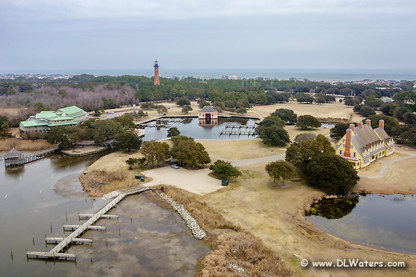 Aerial view of the Whale Head Club, Currituck Beach Lighthouse, and the Outer Banks Center for Wildlife Education in Corolla, NC. (Daniel Waters)