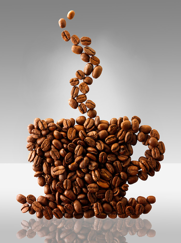 Coffee beans in the shape of a coffee cup. Stock Photo (Paul Williams)