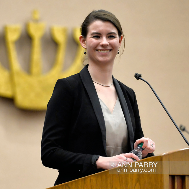"""""""Merrick, New York, USA. January 21, 2015. JANE BRADEN-GOLAY, from Schaffhausen, Switzerland, and President of the European Union of Jewish Students, is speaking at the Merrick Jewish Centre the night before she is scheduled to address - upon the invitation of Ambassador Samantha Power, U.S. Permanent Representative to the United Nations - ambassadors and civil rights leaders at Rep. Power's residence, after the first United Nations General Assembly meeting on rise of anti-Semitic violence worldwide. AJC Long Island and Merrick Jewish Centre presented the event"""