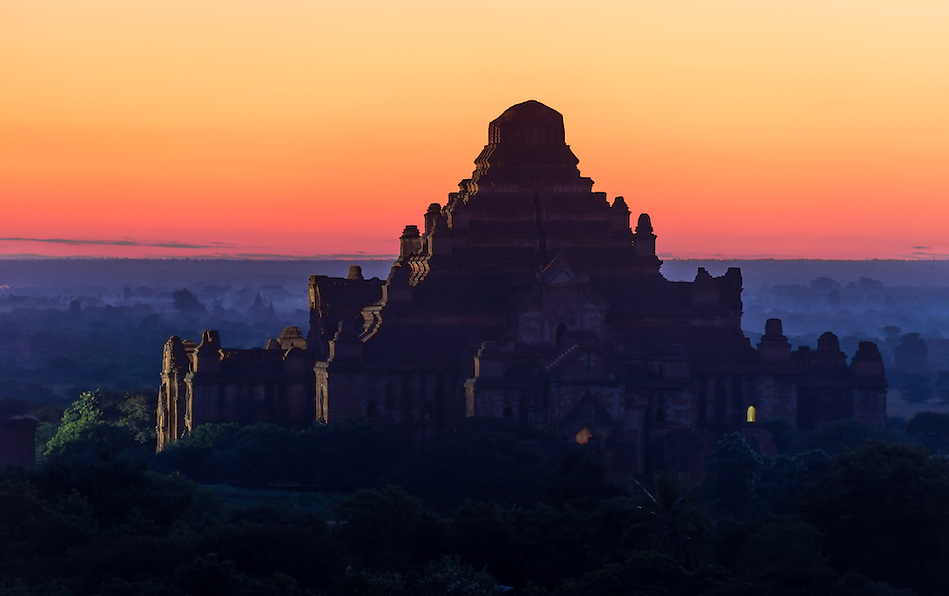 View of the Dhammayan Gyi Temple at dawn in Bagan, this is the largest of all temples and it was built between 1167 and 1170. (Daniel Korzeniewski)