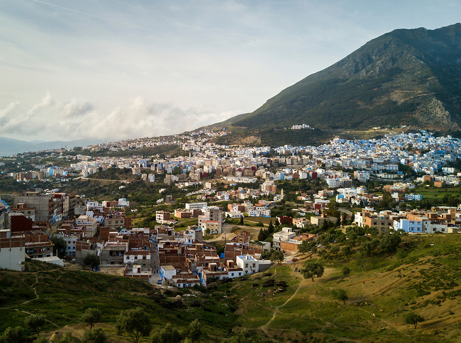 CHEFCHAOUEN, MOROCCO - CIRCA APRIL 2017: Aerial view of Chefchaouen. This is a popular tourist destination in Morocco. (Daniel Korzeniewski)