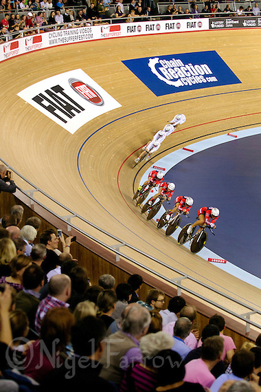 05 DEC 2014 - STRATFORD, LONDON, GBR - The Great Britain (GBR) women's team (top) catch the team from the USA during their women's Team Pursuit first round tie at the 2014 UCI Track Cycling World Cup  at the Lee Valley Velo Park in Stratford, London, Great Britain (PHOTO COPYRIGHT © 2014 NIGEL FARROW, ALL RIGHTS RESERVED) (NIGEL FARROW/COPYRIGHT © 2014 NIGEL FARROW : www.nigelfarrow.com)