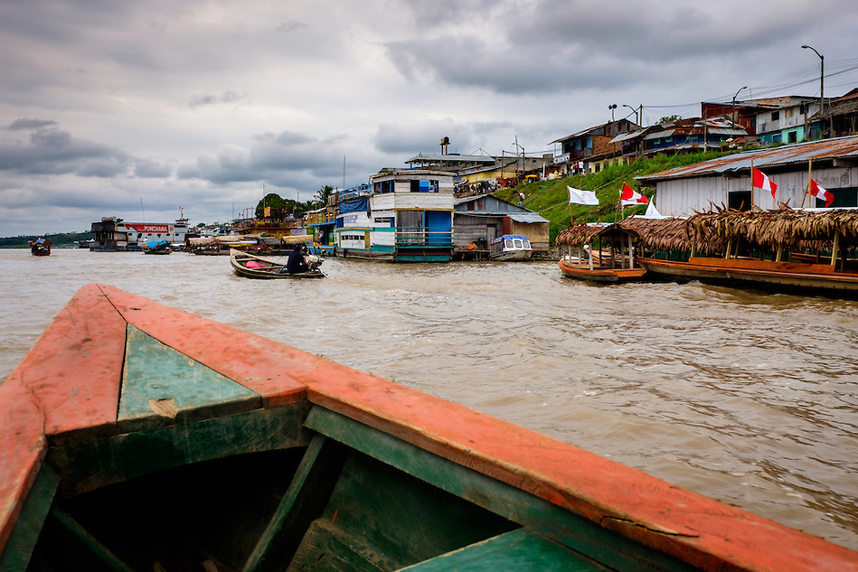 NAUTA, PERU - CIRCA OCTOBER 2015: Boat approaching the port of Nauta in the Peruvian Amazon. (Daniel Korzeniewski)