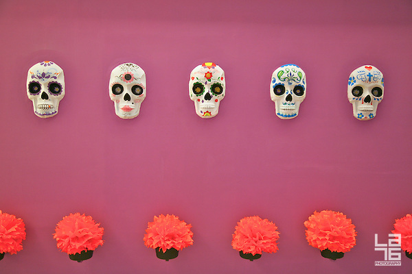 Colorful Mexican sculls designed for the celebrations of the Day of the Dead (El Día de Los Muertos). (Romana Lilic/LA76)