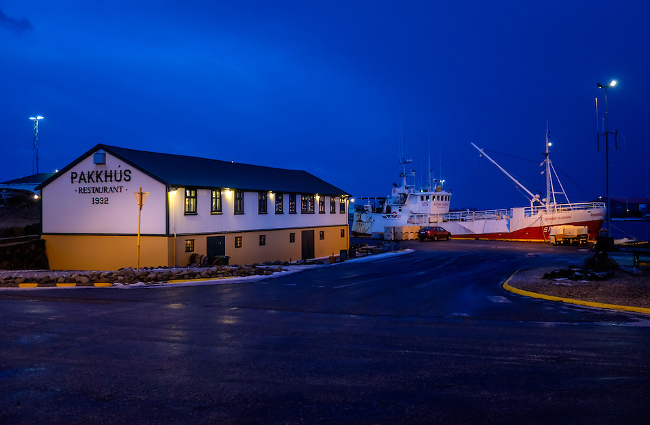 HOFN, ICELAND - CIRCA MARCH 2015: Port of Hofn in Iceland at night. (Daniel Korzeniewski)