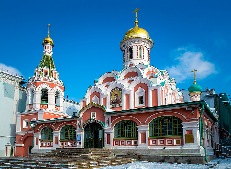 Exterior view of the Kazan Cathedral located in the Red Square in Moscow, Russia. (Daniel Korzeniewski)