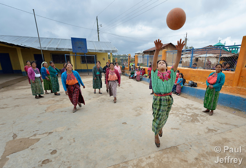 Indigenous women play basketball in Tuixcajchis, a small Mam-speaking Maya village in Comitancillo, Guatemala. (Paul Jeffrey)