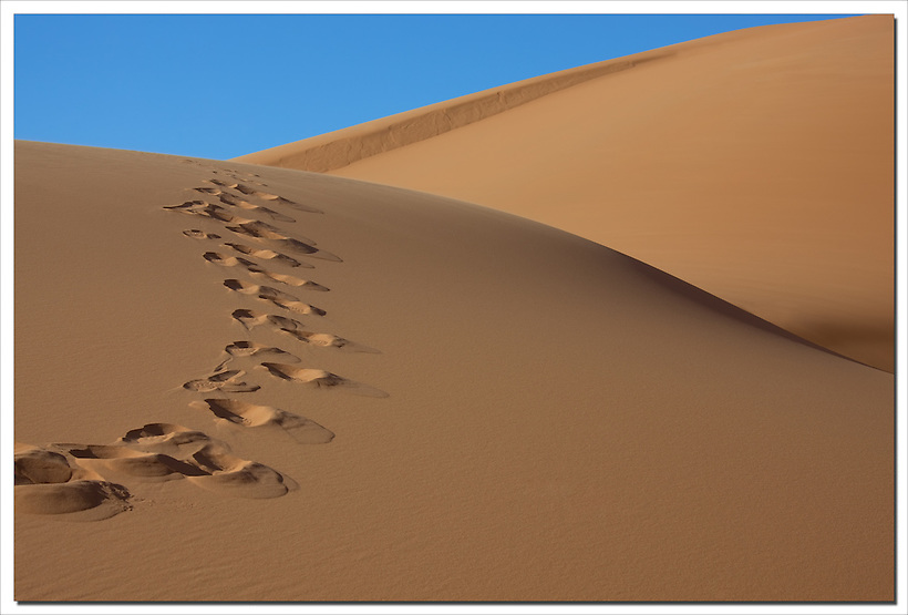 Sahara desert sand dunes with footprints, Morocco. (Rosa Frei)