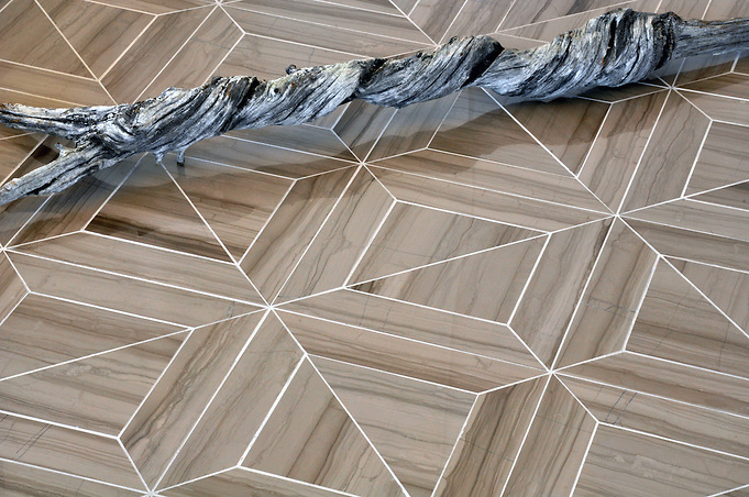 Truman Stone Mosaic Waterjet Field shown in Driftwood polished. (Picasa)