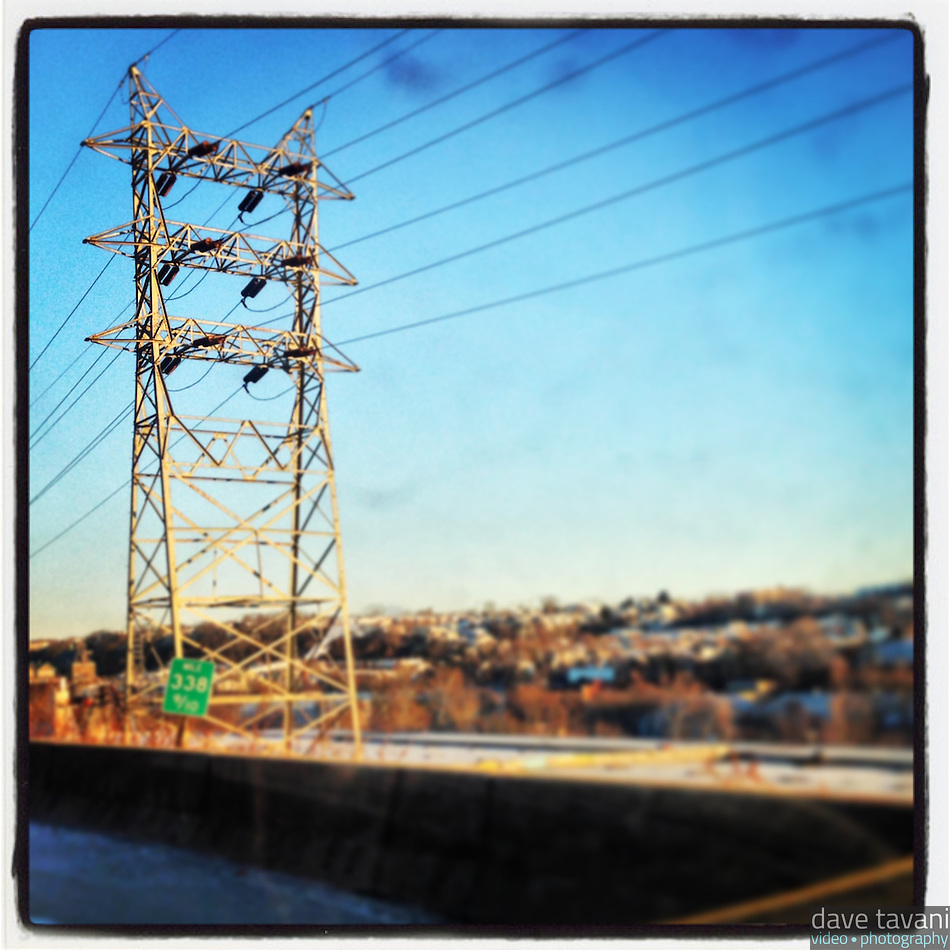 Powerlines sit alongside the Schuylkill Expressway as I am stuck in traffic on the morning of January 23, 2013. (Dave Tavani)