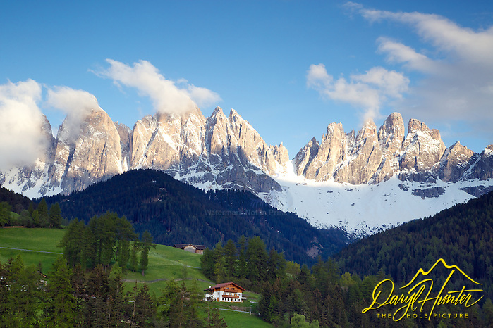 "Val di Funes, Dolomite Mountains, South Tyrol, Italy. Val di Funes/Villnöss Valley is simply picture-perfect: a fairytale that is idyllic and enchantingly beautiful. The main landmark is the Odle/Geisler Dolomite Massif: its striking, pale towers of rock and mountain peaks make it the star of the show. (© Daryl Hunter's ""The Hole Picture""/Daryl L. Hunter)"