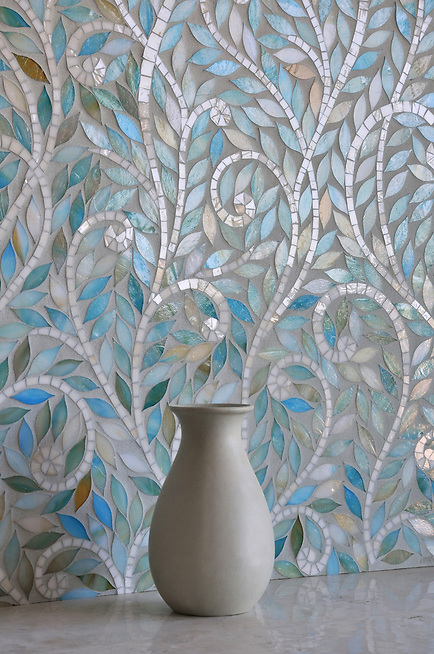 Climbing Vine, a jewel glass waterjet mosaic, is shown in glass Quartz and Aquamarine. (New Ravenna Mosaics 2011)