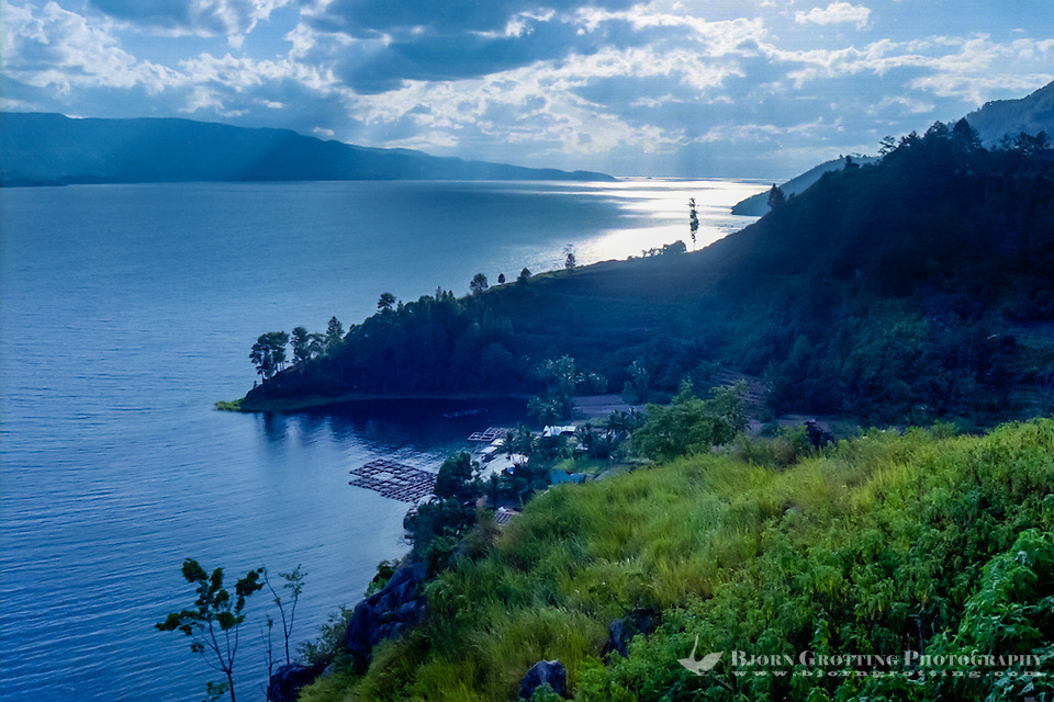 Indonesia, Sumatra. Toba. View of the Toba Lake from the mainland, Parapat side looking north-west. Samosir to the left, this island was created around 30-75.000 years ago. (Photo Bjorn Grotting)