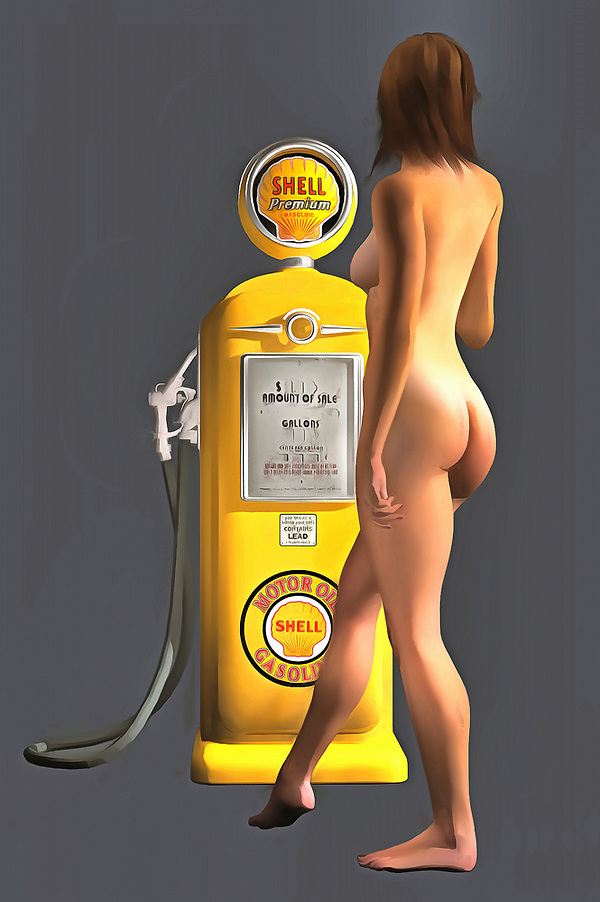 Combining an iconic Shell gas station pump with a beautiful, nude woman, this fine art piece is a truly fascinating approach to pop art. The level of detail in this piece is simply astonishing, particularly in terms of the Shell Gasoline pump. The striking yellow of the gas pump is also worth appreciating. This is certainly true when you compare that yellow to the blank backdrop. The woman is facing away from us, so we can't be certain what she might be thinking. Even so, this woman is clearly enthralled with the gas pump. You can imagine this piece in any space you want. (Jan Keteleer)