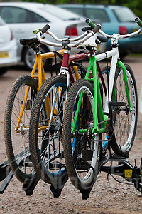 14 JUN 2015 - IPSWICH, GBR - Cycle speedway bikes being carried from the track on a car rack after the Elite League fixture between Ipswich Eagles and Poole Comets at Whitton Sports and Community Centre in Ipswich, Suffolk, Great Britain (PHOTO COPYRIGHT © 2015 NIGEL FARROW, ALL RIGHTS RESERVED) (NIGEL FARROW/COPYRIGHT © 2015 NIGEL FARROW : www.nigelfarrow.com)
