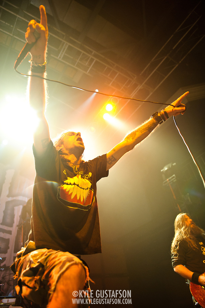WASHINGTON, DC - January 23rd, 2012 - Randy Blythe and Mark Morton of the Richmond, VA-based heavy metal band Lamb of God perform at the 9:30 Club in Washington, D.C. The band released their seventh studio album, Resolution, earlier in the week. (Photo by Kyle Gustafson/For The Washington Post) (Kyle Gustafson/FTWP)