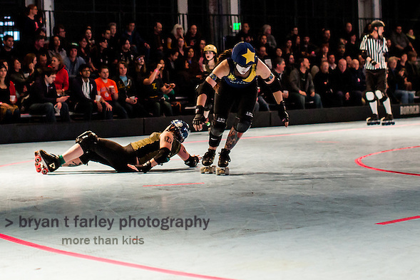 The San Francisco ShEvil Dead defeated the Richmond Wrecking Belles 158-119 Saturday March 2, 2013 at the Craneway Pavilion in Richmond, California. Both teams are members of the The B.ay A.rea D.erby Girls women's flat track roller derby league. (bryan farley)
