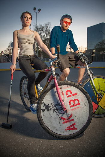 Bike Polo competitors, Haley Wright and Liam McMahon, Delaney Park Strip, Anchorage (Clark James Mishler)