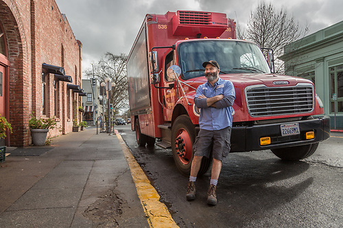 """I've been driving for Young's Market for eight years...I deliver wine, spirits and beer and cover an area of about 100 miles around Santa Rosa.""   -Skip with his delivery truck outside wht Hydro Grill in Calistoga (Clark James Mishler)"
