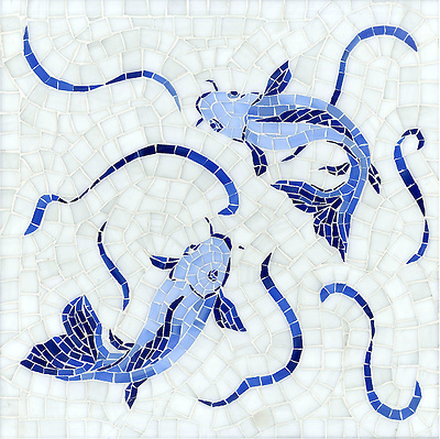 Koi Fish, a hand cut jewel glass mosaic shown in Lapis Lazuli, Iolite, and Covelite with Absolute White sea glass, is part of the Delft Collection by Sara Baldwin for New Ravenna Mosaics. (New Ravenna Mosaics)