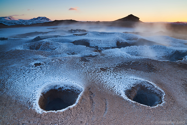 Námafjall Geothermal Area Mývatn at sunrise in winter. Mud pools boiling and steam coming from the ground. North Iceland. (Christopher Lund/©2015 Christopher Lund)