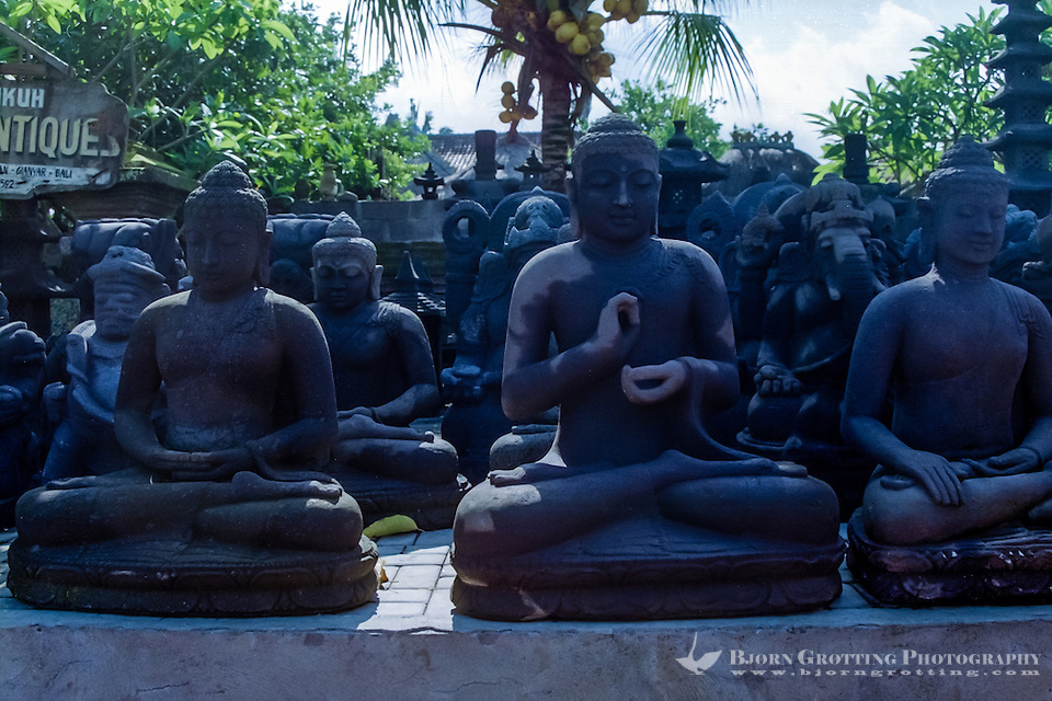 Bali, Gianyar, Batubulan. Stonecarvings, Buddha figures. Batubulan is a Balinese center for stonecarving. (Photo Bjorn Grotting)