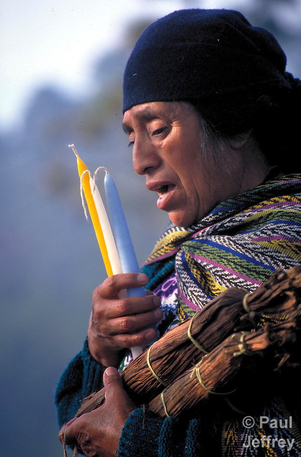 A K'iche' Maya woman priestess leads an indigenous spiritual ceremony near San Andres Xecul, Guatemala. (Paul Jeffrey)