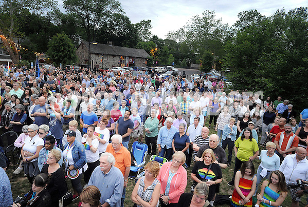 Over 400 people attended the candlelight vigil in support of the victims of the Orlando massacre Monday, June 13, 2016 in New Hope, Pennsylvania. (Photo by William Thomas Cain) (William Thomas Cain)