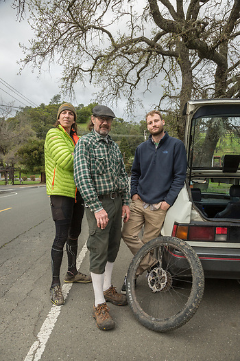"Limo driver Marcus Rostad, pilot Trey Sheehe and Contractor Eric Striedieck discuss the finer points of mountain biking in Calistoga. ""The harder we work the more freedom we find."" (Clark James Mishler)"
