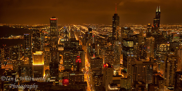 Looking south from the John Hancock Tower at night at the beautiful Chicago skyline. (Ian C Whitworth)