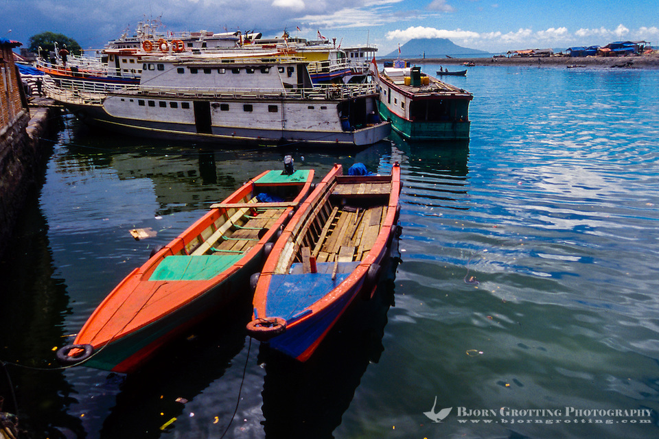 Indonesia, Sulawesi, Manado. Colourful boats in Manado harbour. (Photo Bjorn Grotting)