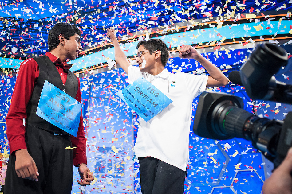 Co-champions Ansun Sujoe, 13, of Fort Worth, Texas, and Sriram Hathwar, 14, of Painted Post, New York, celebrate after winning the Scripps National Spelling Bee on May 29, 2014 at the Gaylord National Resort and Convention Center in National Harbor, Maryland. (Pete Marovich/UPI)