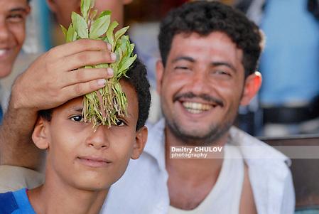 LAHIJ, YEMEN - SEPTEMBER 15, 2006: Unidentified men sell khat (Catha edulis) at the local market in Lahij, Yemen. Chewing khat (drug of abuse) is a major social problem in Yemen. (Dmitry Chulov)