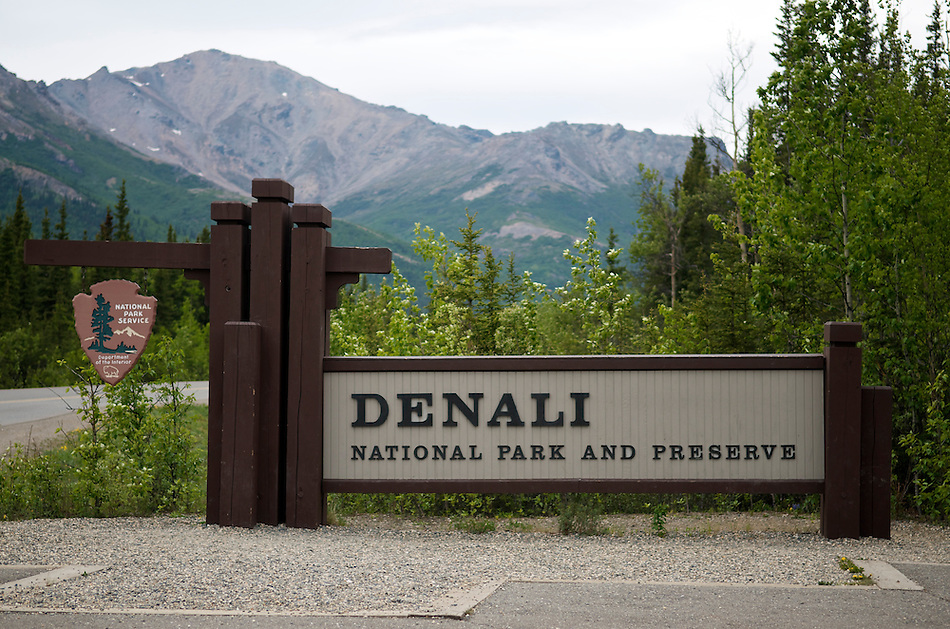 June 7, 2011, Denali National Park and Preserve entrance sign, with view of Mount Healy in background, Denali National Park and Preserve, Alaska, United States. (Ron Karpilo)