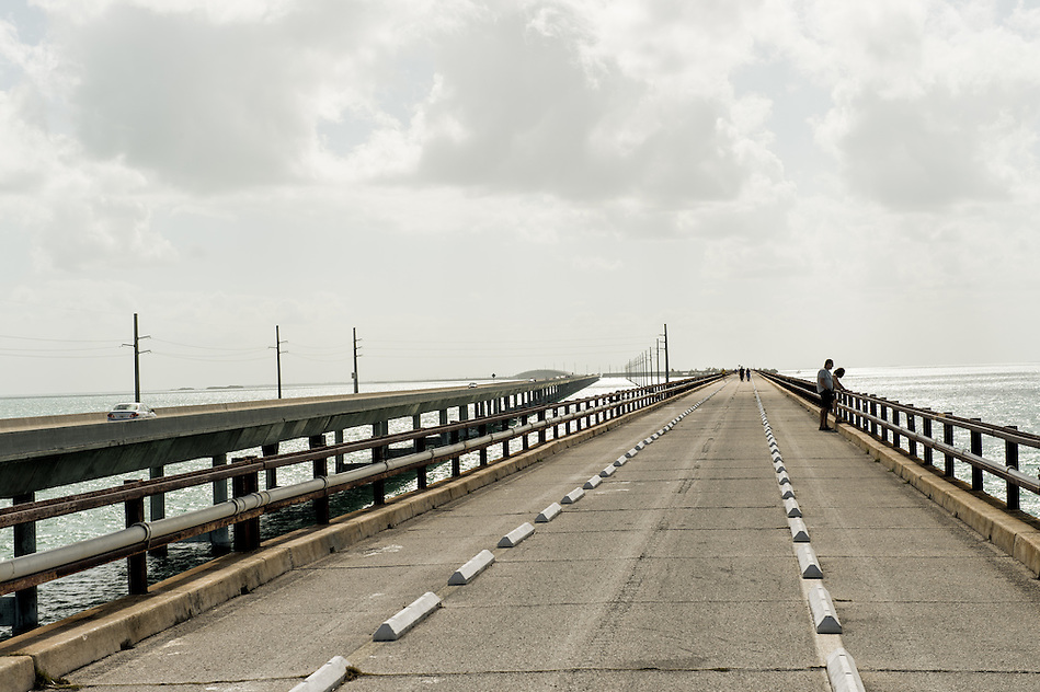 MARATHON, FL - CIRCA 2012: View of world famous 7 mile bridge in Marathon circa 2012. The Florida Keys are a very popular tourist destination with over 2 million yearly visitors. (Daniel Korzeniewski)