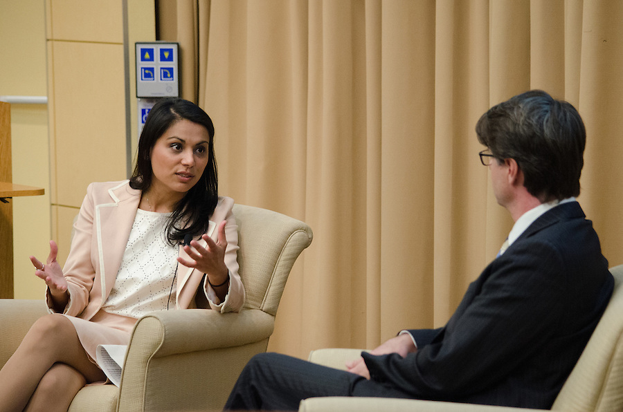 2016-03-11-Medford/Somerville-Tufts University-ASEAN-Dr. Nahid Bhadelia (J99, F05, M05) discusses her work in West Africa during the Ebola epidemic with Fletcher Profess of International Law Ian Johnstone (Alex Knapp / The Tufts Daily). (Alex Knapp)