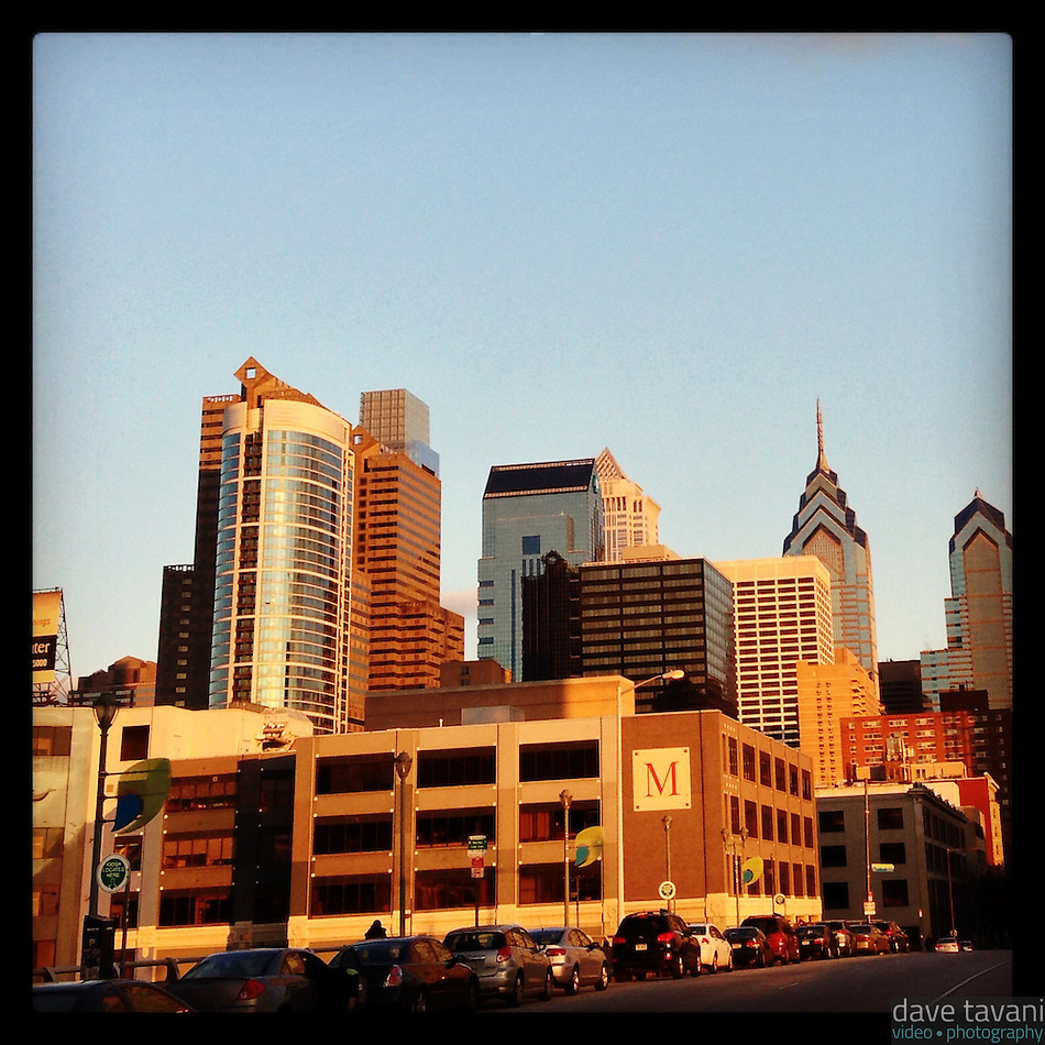 The late afternoon sun lights the Philadelphia skyline as seen from the Chestnut Street Bridge December 19, 2012. (Dave Tavani)