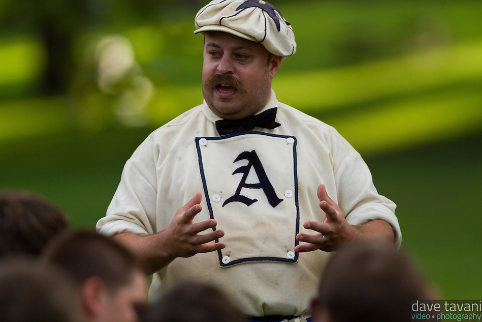 Scott Alberts, president of the Athletic Base Ball Club of Philadelphia, explains the 1864 rules to the players from the Mt. Airy Stars and the Potter Pirates. (Dave Tavani)