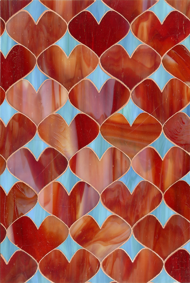 Erin Adams Hearts shown in Garnet and George for New Ravenna Mosaics. (New Ravenna Mosaics 2012)