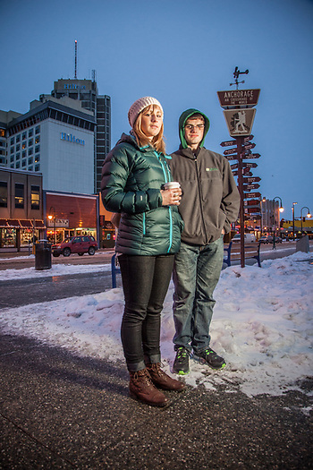 Sarah Zerkel and her brother Austin shop for their parent's Christmas presents in downtown Anchorage (Clark James Mishler)