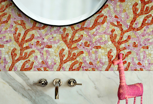 Coral, a hand cut glass mosaic shown in Rose Quartz, Sardonyx, and Agate, is part of the Erin Adams Collection for New Ravenna Mosaics. (Sara Baldwin)
