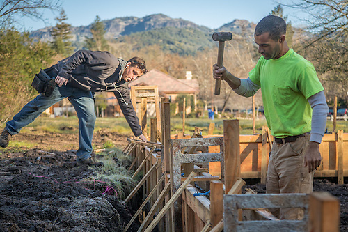 Justin Muir (left) and Scott Liedl, of Robert's Construction, prepare the foundation forms for  a new home along Foothill Drive in Calistoga (Clark James Mishler)